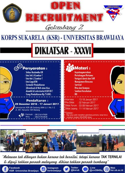 OPEN RECRUITMENT DIKLATSAR XXXVI GELOMBANG 2